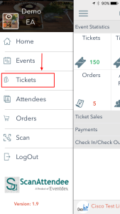 Select tickets from menu