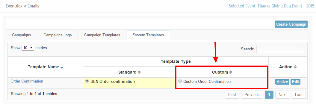 Custom template under system templates tab