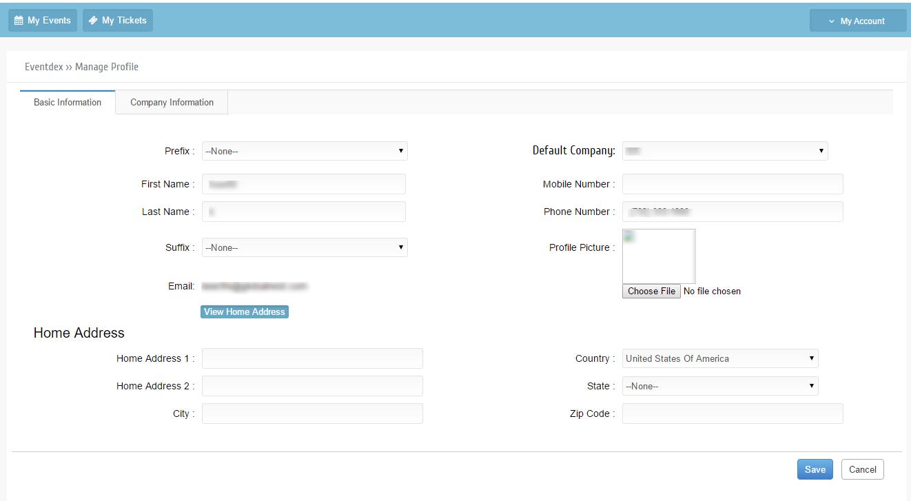 Manage Profile basic Information