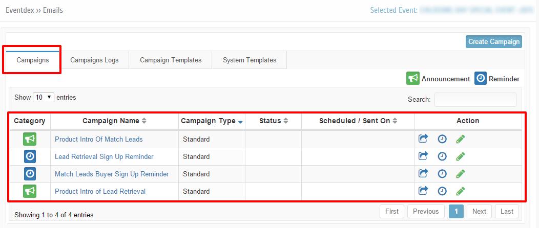 campaigns tab