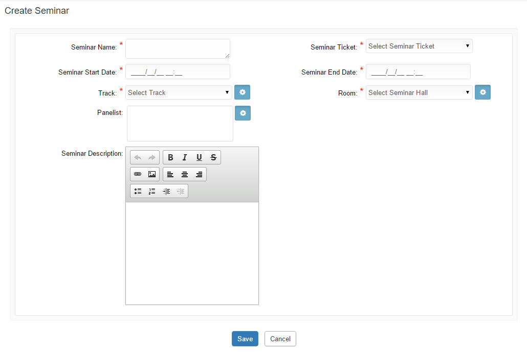 Create Seminar Detail page