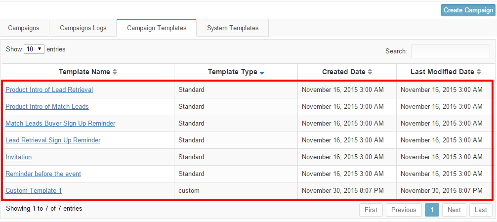 Custom templates in campaign templates