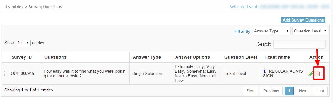 Delete Ticket level Survey Question