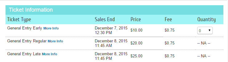 Early Bird Ticket Pricing Display example ON