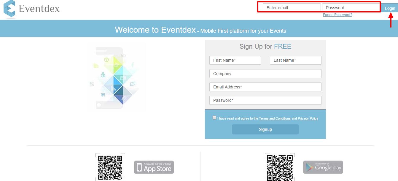 Eventdex login intro