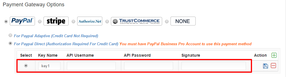 PayPal Direct API Details and Save