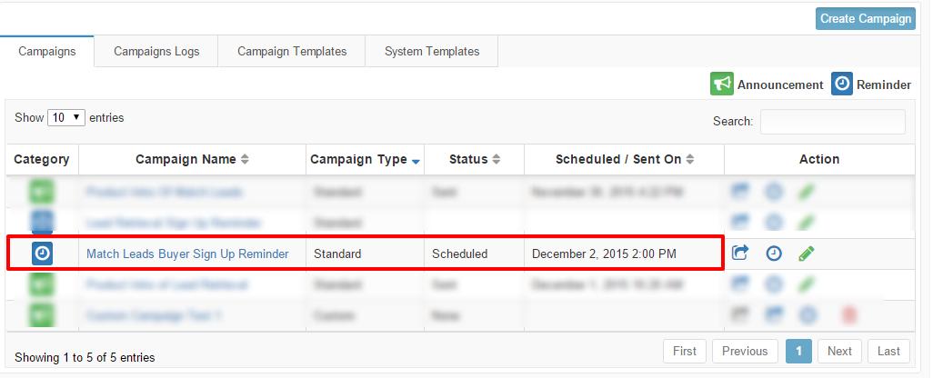 Schedule campaign status
