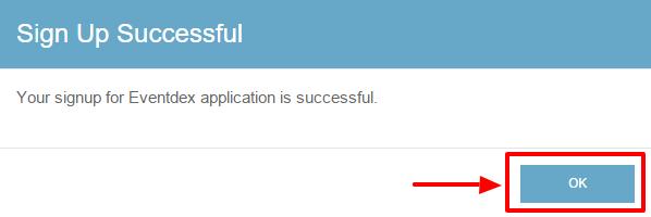 Signup success alert msg
