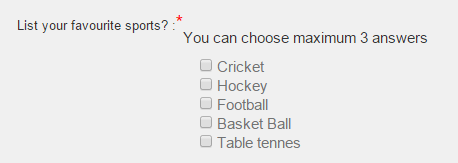 Survey checkboxes