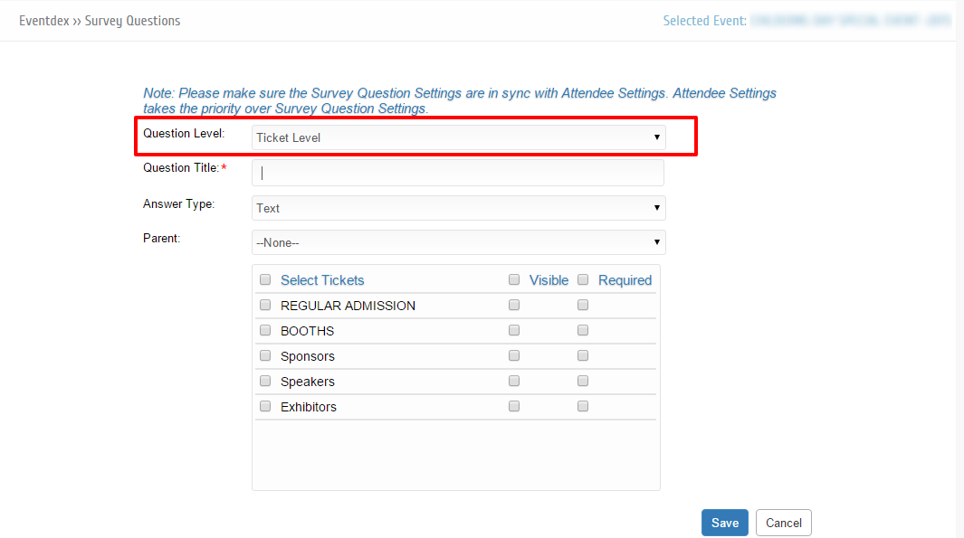 how to create a ticket level survey question eventdex help guide