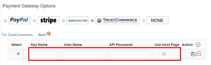 TrustCommerece API keys